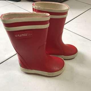 二手 兒童雨鞋 防水 兒童長靴 紅色 14~20號