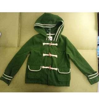 日系 可愛 綠色 羊毛70% 牛角 帽子 連帽 短大衣 外套