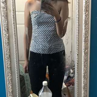 Black and White Strapless Top