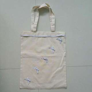 *BRAND NEW* HANDMADE White Ribbon Tote Bag
