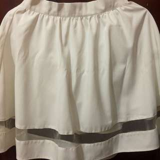 (REPRICE) Cloth Inc White Flare Mesh Skirt