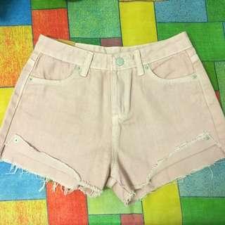 粉色反折牛仔褲