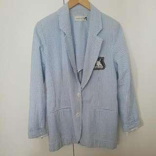 Woodford & Co Light Blue Striped Boyfriend Blazer Sz 10