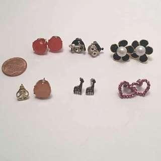 5 Pairs + 1 Unpaired Stud Earrings