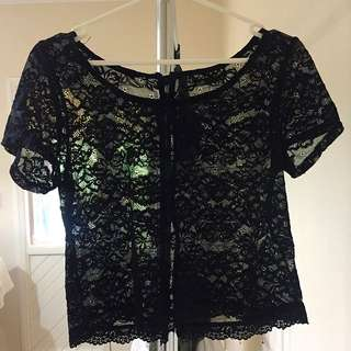 Dotti Black Lace Top