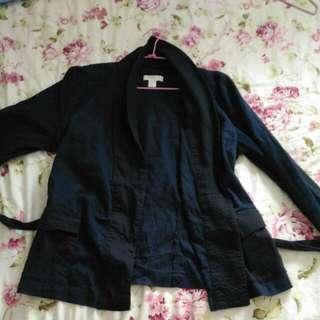 大尺碼外套 H&M深藍色休閒西裝外套