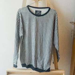 houndstooth monochrome sweater