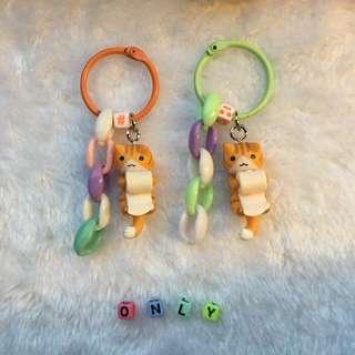 ✨捲衛生紙貓咪 🐱 小款鑰匙圈吊飾 ✨
