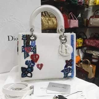 ChristianDior White Dior Heart Tote Medium