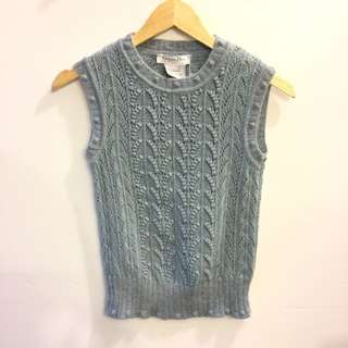 Christian dior blue knit vest size 36