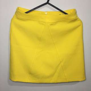 Stradivarius Yellow A-line Skirt