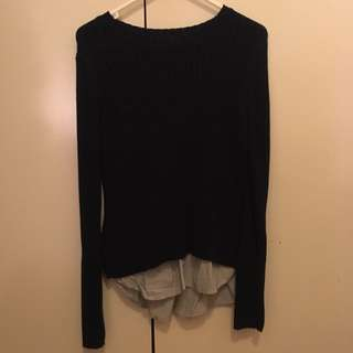 M Zara Knit Pullover With Shirt Detail