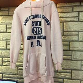 粉色長版帽T#100元上衣
