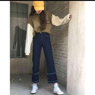 高腰直筒牛仔寬褲M(含運)