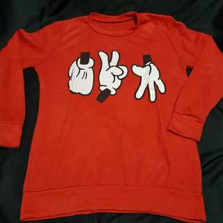 Sweater Merah Mickey Hands