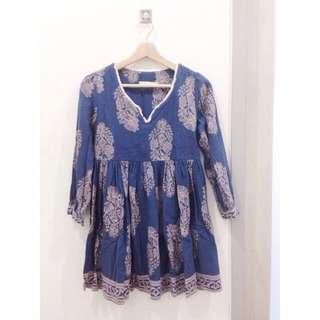 🎈小穎正韓。民族風土耳其藍洋裝
