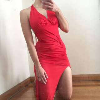 Women's Gorgeous Sexy Red Slit Maxi Dress Formal