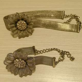 高貴銀色花閃石頸鏈及手鏈