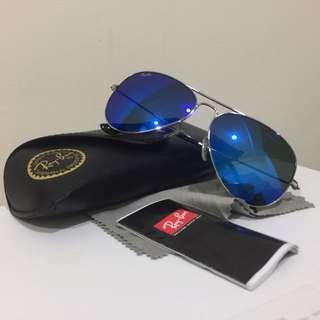 雷朋 飛官水銀款太陽眼鏡 小板銀邊水銀藍