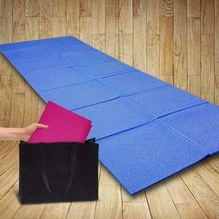 缺貨中~【福利品】6mm PVC 雙面止滑可折疊瑜珈墊(藍/紅/紫/黑)-加碼送可背式背袋