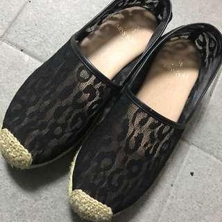黑色豹紋蕾絲平底草鞋 Miss Sofi #五百元好女鞋