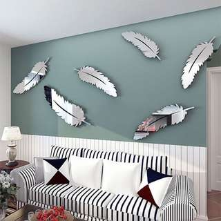 8pcs Feather Designed 3D Mirror Wall Stickers