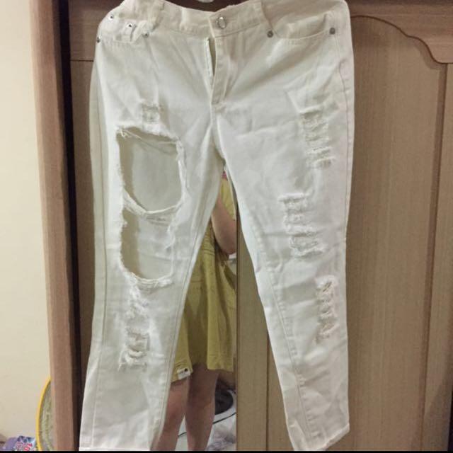 白色刷破褲(含運)