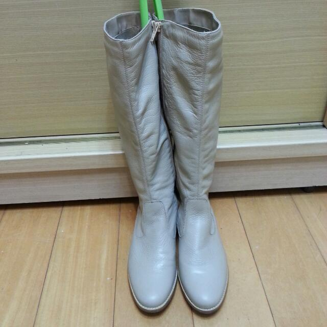 代售~基本百搭款皮革長馬靴~巴西製