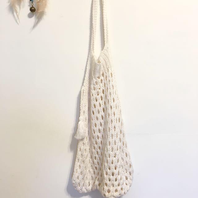 米白針織民族包