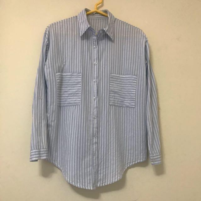 淺藍直條紋襯衫