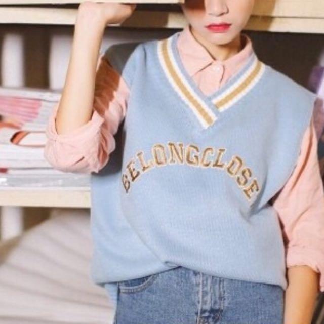 韓系粉嫩色系背心+粉紅襯衫貓咪曬月亮 行星 zara Vll&Co. pazzo