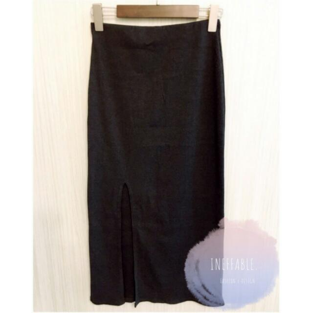 韓 針織側開衩長裙