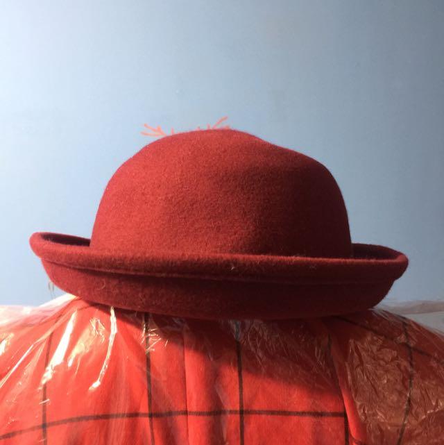 深紅色 毛呢 圓禮帽