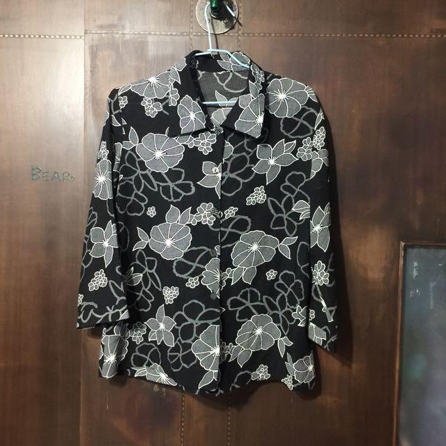 日本 雪紡 梅花 襯衫
