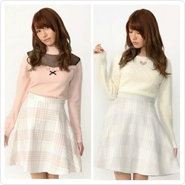 (正品/含標) ank rouge 日購代買 格紋高腰裙 A字裙(微絨毛 材質舒適)