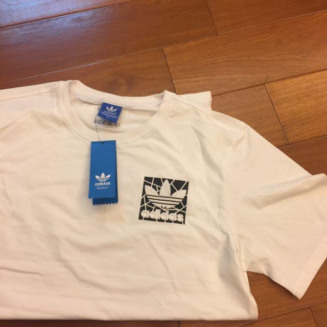 Adidas 短白T 男