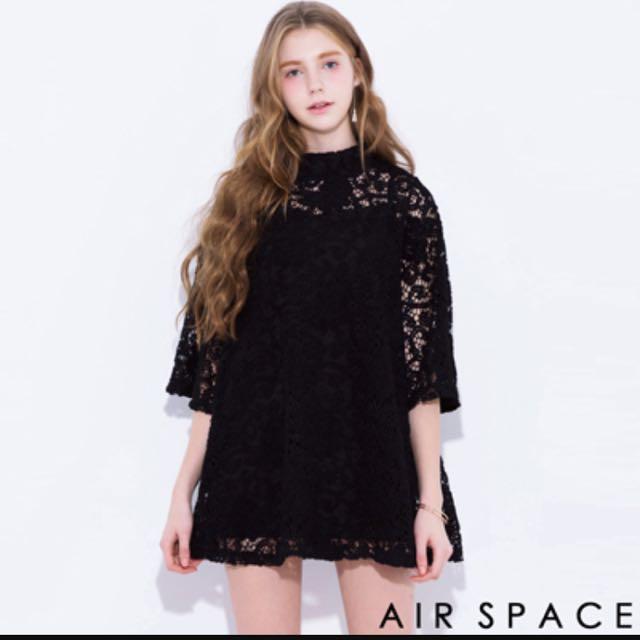 air Space 黑色立領蕾絲洋裝