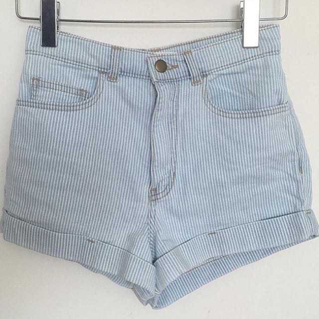 American Apparel High Waisted Striped Shorts