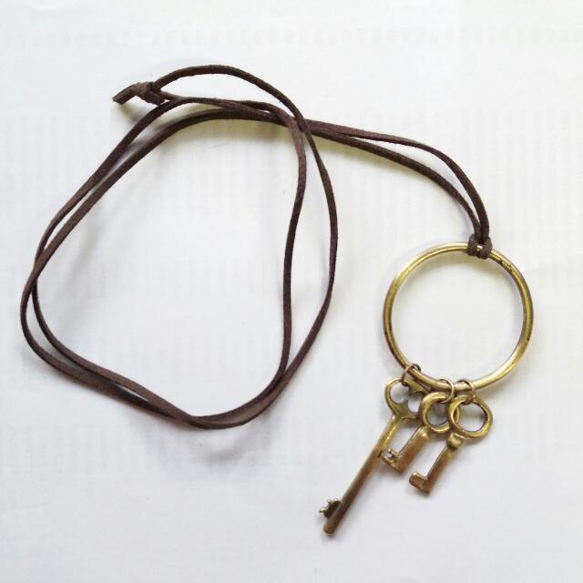 Antique Finish Key Necklace With Leather Strap