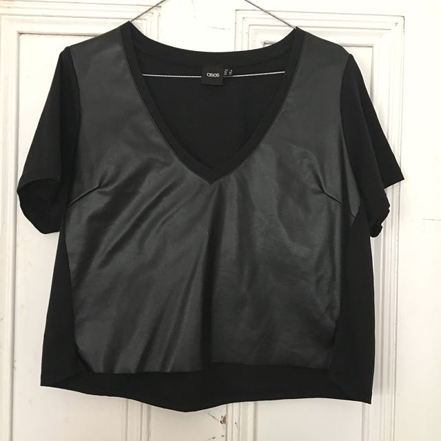 ASOS Black Cropped Leather Tee