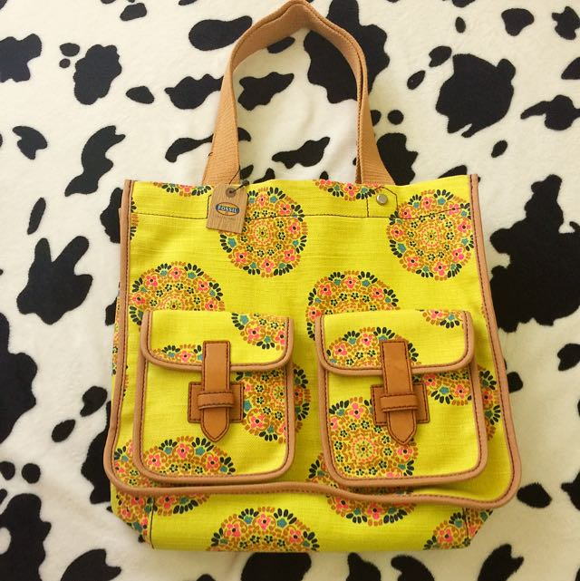 Authentic Fossil Canvas Yellow Bag