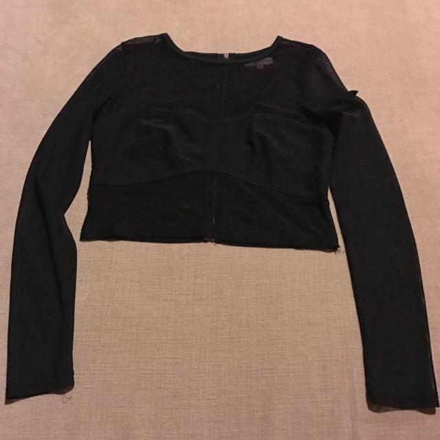 Ava Black Mesh Crop Top Size 6