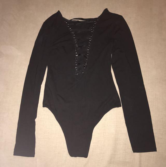 Bardot Black Lace-up Leotard Size 6