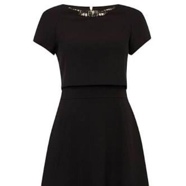 Black Double Layer Work Dress