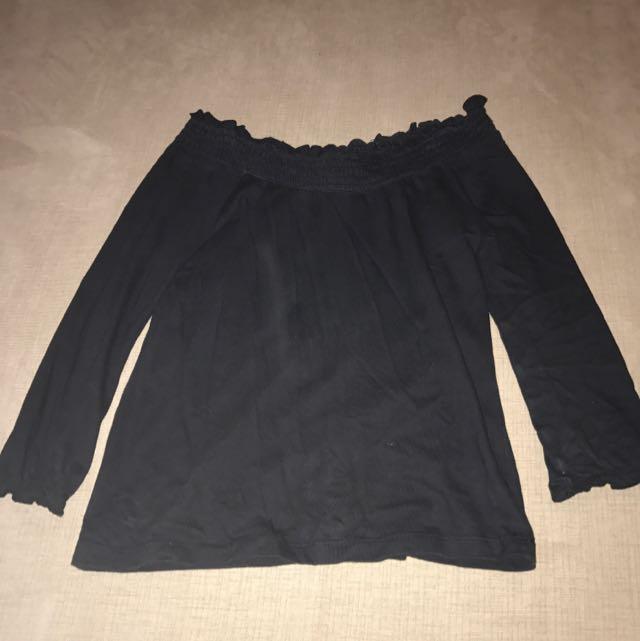 Black Off Shoulder Top Size 10