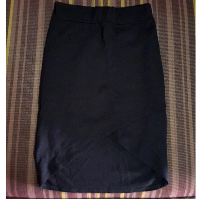 Black Skirt with Front Slit