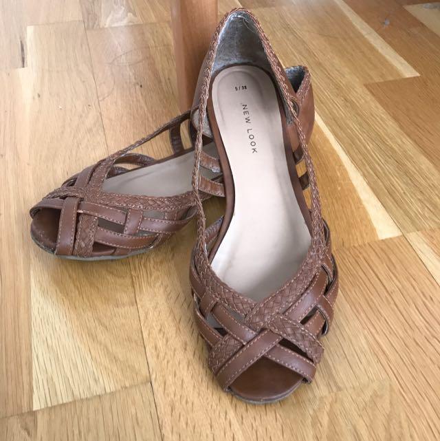 Brown Open Toe Flats