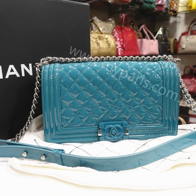 7e314619f13a Chanel Turquoise Blue Patent Leather Leboy Old Medium Flap Bag with  Plexiglass CC, Luxury, Bags & Wallets on Carousell