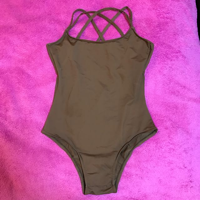 Chocolate Brown Swimsuit W Scalloped Back