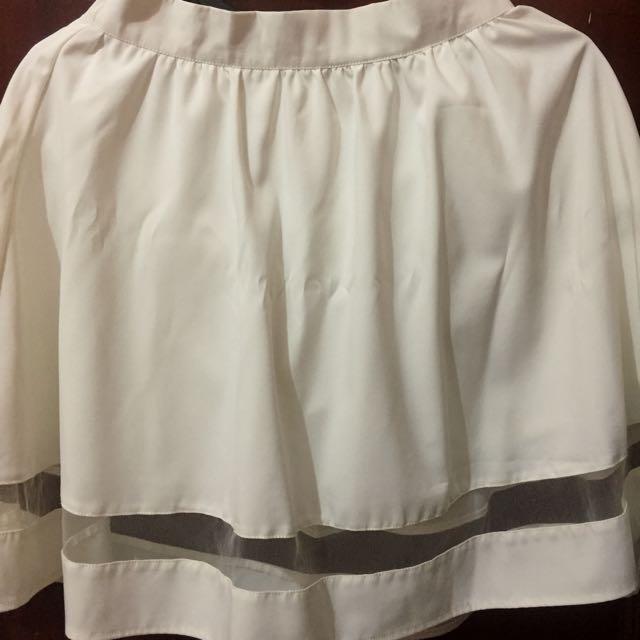(REPRICE) Cloth Inc White Flare Mesh Skirt